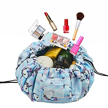 Adigow Portable Drawstring Makeup Bag Large Capacity Lazy Cosmetic Organizer Pouch Magic Travel Toiletry Bags For Womens, Beige Makeup