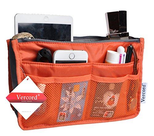 Vercord Purse Organizer Insert Handbag Organizer Bag in Bag 13 Pockets Orange Small
