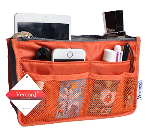 Handbag Organizer Insert - Vercord Purse Organizer Insert Handbag Organizer Bag in Bag 13 Pockets Orange Small
