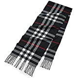 Men's Scarf Fashion Tassel Warm Scarves Classical Arrival Winter Plaid Scarf(Plaid Black)
