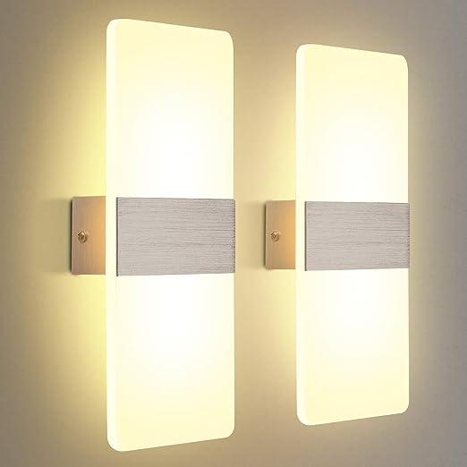 KINGSO Aplique LED Paquete interior de 2 Aplique 12W Acrílico, Moderno para sala de estar Dormitorio Escalera Pasillo, CA 230V, 3000K Blanco cálido: Amazon.es: Iluminación
