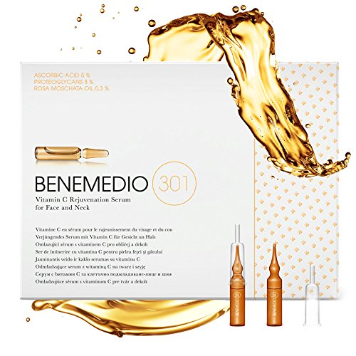 Benemedio 301, Proteoglycan Vitamin C Serum for Face and Neck Wrinkles, Fine Lines, Sun or Dark Spots and Scars Fading | Swiss Formula | 10 vials of 0.068 fl oz each