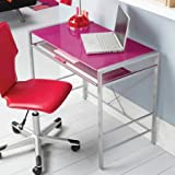 Stylish Glass-top Desk Brings Organization to Your Work or Study Area (Fuchsia)
