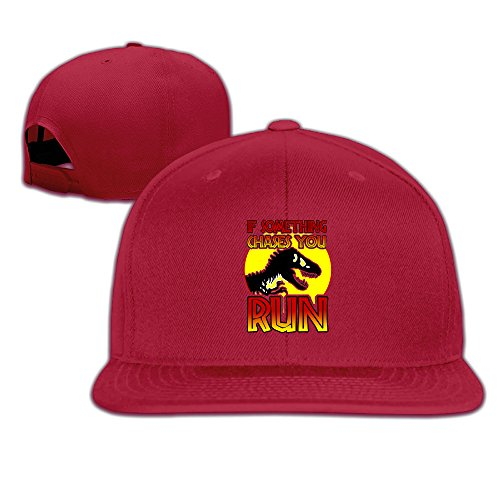 Price comparison product image Male/Female Jurassic Park World Dino RUN Cotton Flat Snapback Baseball Caps Adjustable Mesh Hat Trucker Hat Red One Size Fits Most