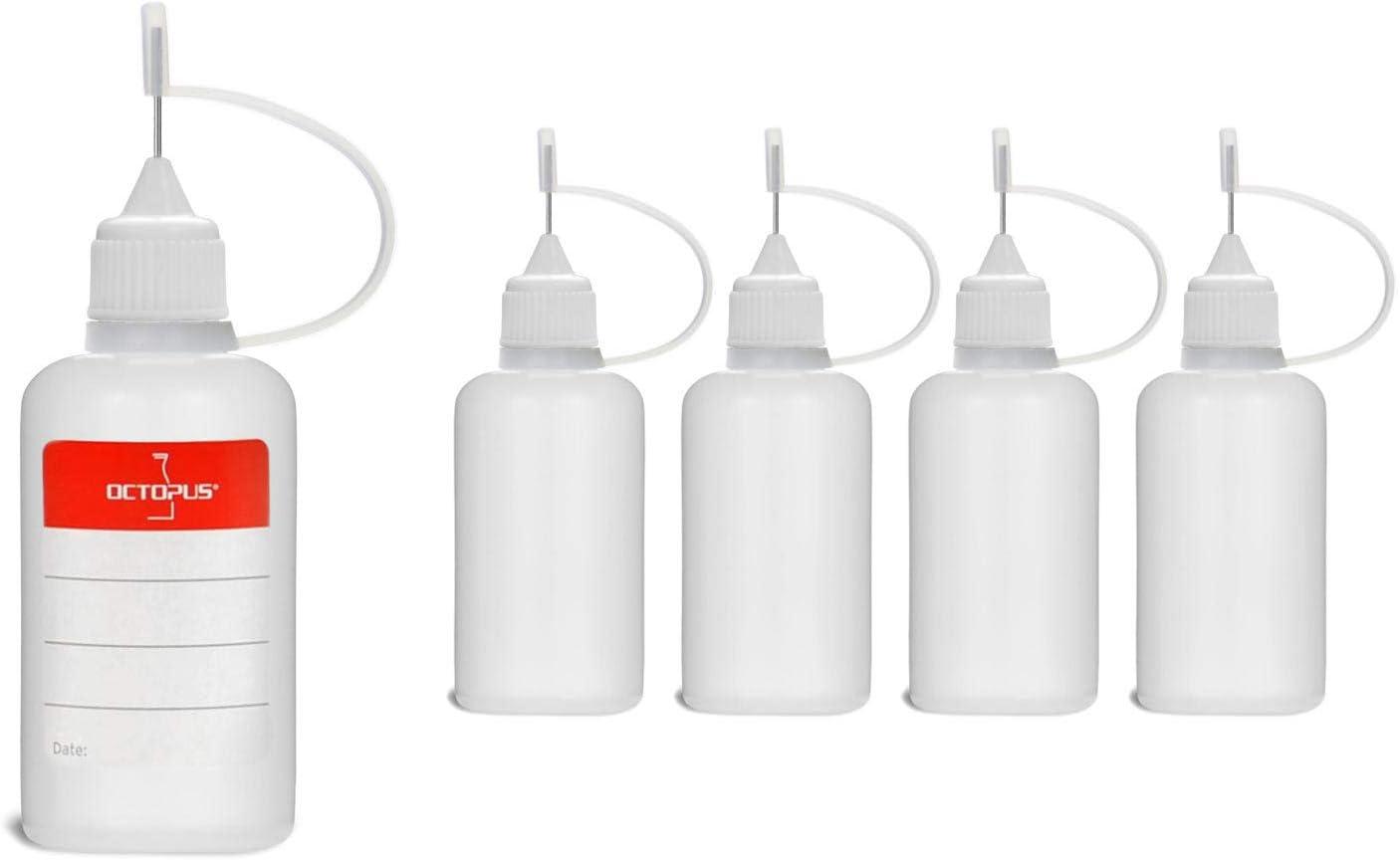 5 Botellas de recarga con aguja Octopus de 30 ml, botella para líquidos electrónicos para shishas electrónicas y cigarrillos electrónicos, aceites, tintas y pegamentos, botellas vacías de plástico LDP