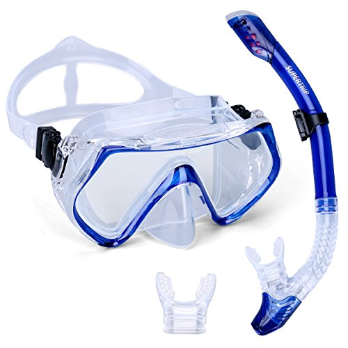 Supertrip Scuba Diving Snorkeling Freediving Mask Snorkel Set blue