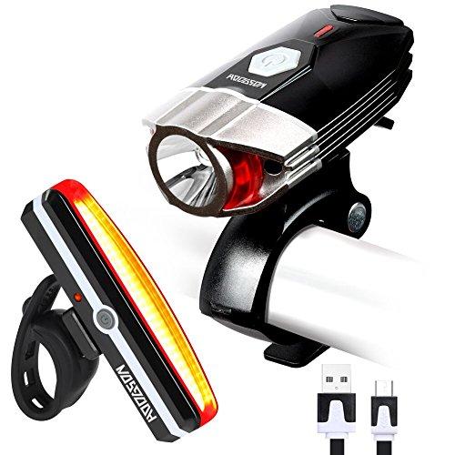 HODGSON Fahrradlicht USB Wiederaufladbare Fahradbeleuchtung Fahrradlampen Set, Superhelle 380 Lumen Fahrrad Frontlicht & LED Rücklicht, Spritzwassergeschützt und Einfache Montage für Sicheres Radfahren