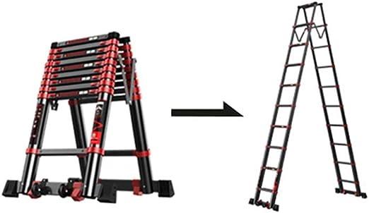 XSJZ Escalera Telescópica Plegable, 12 + 12 Pasos Aleación de Aluminio Negro Engrosamiento de La Escalera Telescópica Proyecto Escalera Plegable Escaleras de Elevación Para El Hogar 4.7 M Escalera ple: Amazon.es: Hogar