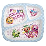 Zak! Designs 3-Section Plate featuring Shopkins Graphics, Break-resistant and BPA-free plastic