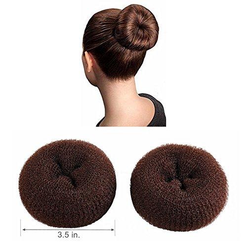 Large Hair Donut - CLOTHOBEAUTY 2 pieces Large Size Hair Bun Donut Maker, Ring Style Bun, Women Chignon Hair Donut Buns Maker,Hair Doughnut Shaper Hair Bun maker (3.5 in. ) (Brown)