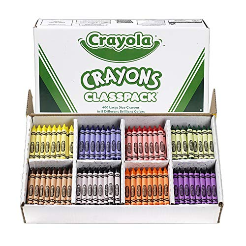 Crayon Assortment - Crayola Crayon Classpack Large Size, 8 Classic Crayola Colors (400 Count) Bulk Pack Is Great for Kids Classrooms or Preschools, Non-Toxic Art Tools for Kids & Toddlers 3 & Up