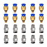 Ewigkeit PC4-M10 Straight Pneumatic Fitting Push to Connect + PC4-M6 Quick in Fitting for 3D Printer Bowden Extruder (Pack of 20pcs)
