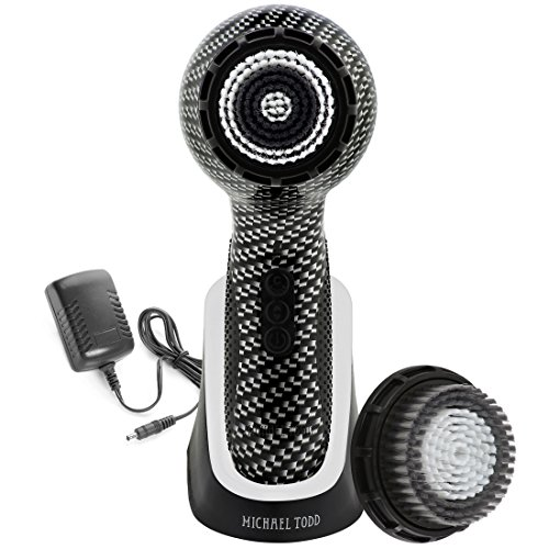 Michael Todd Soniclear Elite Antimicrobial Facial Cleansing Brush System with 6-speed Sonic Powered Exfoliating Face Brush, Carbon Fibre