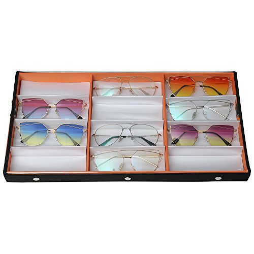 Ikee Design Large 12 Compartment Eyewear Case for Regular Eyeglasses, Watches or Jewelry (Orange)