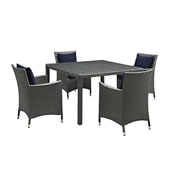 Modway EEI-2244-CHC-NAV-SET Sojourn Wicker Rattan Outdoor Patio Coffee Table, Dining for Four, Navy - PATIO REFRESH - Update your backyard or porch with inviting modern patio dining furniture. Effortlessly accommodate the needs of your guests while creating the perfect outdoor patio dining setting OUTDOOR DINING - Enjoy dinner under the stars or a sunny lunch on the patio with this outdoor dining set. Accommodating 4 people, the patio set includes a table and four dining armchairs with cushions CONTEMPORARY STYLE - Updating decks and backyards, the durable collection boasts clean lines and modern appeal. All-weather cushions and machine washable Sunbrella fabric covers grant stylish comfort - patio-furniture, dining-sets-patio-funiture, patio - 51MZN2dSg6L. SS570  -