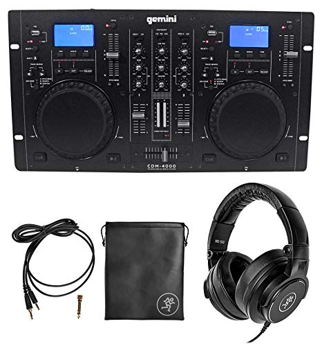 Gemini CDM-4000 2 Ch. Dual DJ Mixer Media Player MP3/CD/USB+Mackie Headphones ()