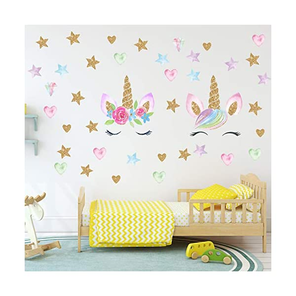 Unicorn Wall Decals,Unicorn Wall Sticker Decor with Heart Flower Birthday Christmas Gifts for Boys Girls Kids Bedroom Decor Nursery Room Home Decor (2 Pack Unicorn) 3