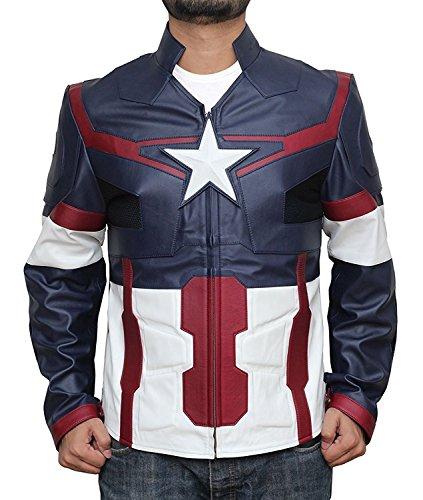 Superhero Costume PU Leather Jacket Collection (M, Captain America Ultron Blue)