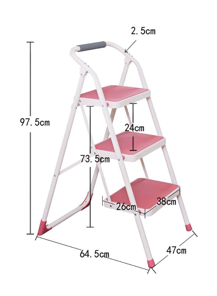 YXX- 3踏み台ステップスツール椅子大人と子供のための折りたたみラダーハンドル付き屋外ポータブル踏み台/ストレージ棚/フットスツール/フラワーラック (色 : ピンク ぴんく) B07F24TSC3 ピンク ぴんく ピンク ぴんく