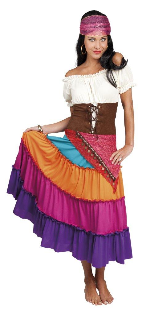 Luxuspiraten Damen Motto-Party Karneval Kostüm Zigeunerin Set, L/XL, Mehrfarbig