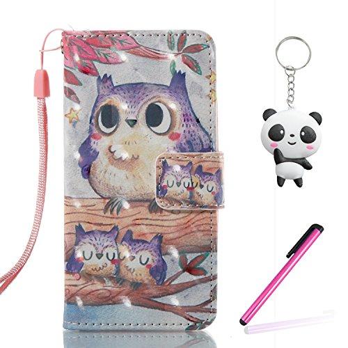 iPhone 6 Hülle Lila Eule PU Leder Wallet Handytasche Flip Etui Schutz Tasche mit Integrierten Card Kartensteckplätzen und Ständer Funktion Für Apple iPhone 6 / 6S + Zwei Geschenk