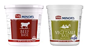 Minor's Beef Base and Stock, Great for Soups and Sauces, 0 Grams Trans Fat, 16 oz & Sauteed Vegetable Base, Instant Vegetable Stock and Base, Mirepoix, Gluten-Free, 16 oz