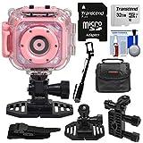 Precision Design K1 Kids HD Action Camera Camcorder (Pink) with Helmet & Handlebar Bike Mounts + 32GB Card + Case + Selfie Stick + Kit