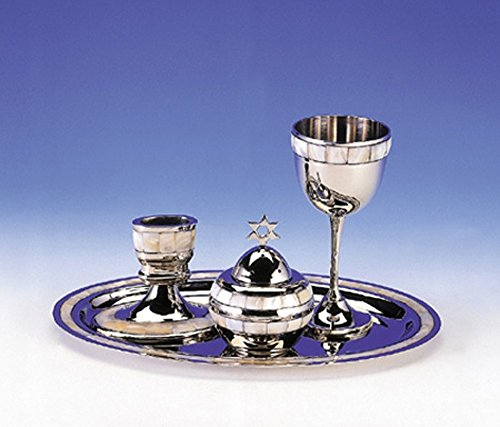 (Highly Polished Non-Tarnishing Metal Havdalah Set with Mother of Pearl Design)