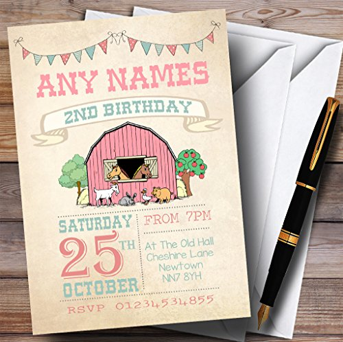 Girls Farm Animals Childrens Birthday Party Invitations by The Card Zoo