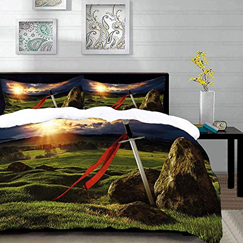 Duvet Cover Set,King Theme Design,Arthur Camelot Legend Myth in England Ireland Fields Invincible Myth Image,Twin Size Decorative 3 Piece Bedding Set with 2 Pillow Shams,Red ,Super soft comfort microf