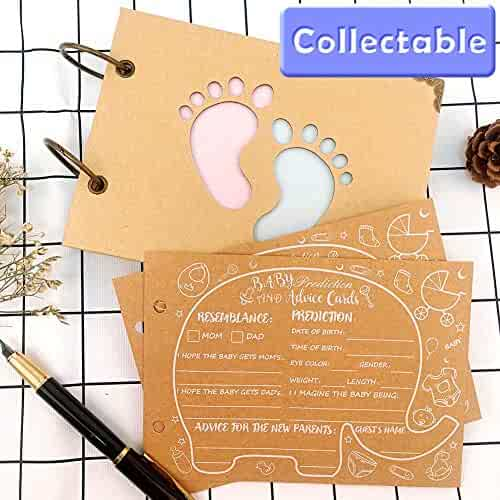 Wmbetter 40 Prediction and Advice Cards for Baby Reveal Games, New Parent Message Advice Book for Gender Reveal Game, New Mom & Dad Cards or Mommy & Daddy To Be Scrapbook