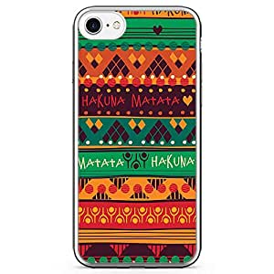 iPhone 8 Transparent Edge Phone case African Pattern Phone Case African Art Style Phone Case Dark Hakuna Matata