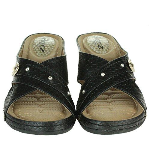 Rieker 53945, Zapatos de Cordones Derby para Mujer, Negro (Schwarz/00), 38 EU