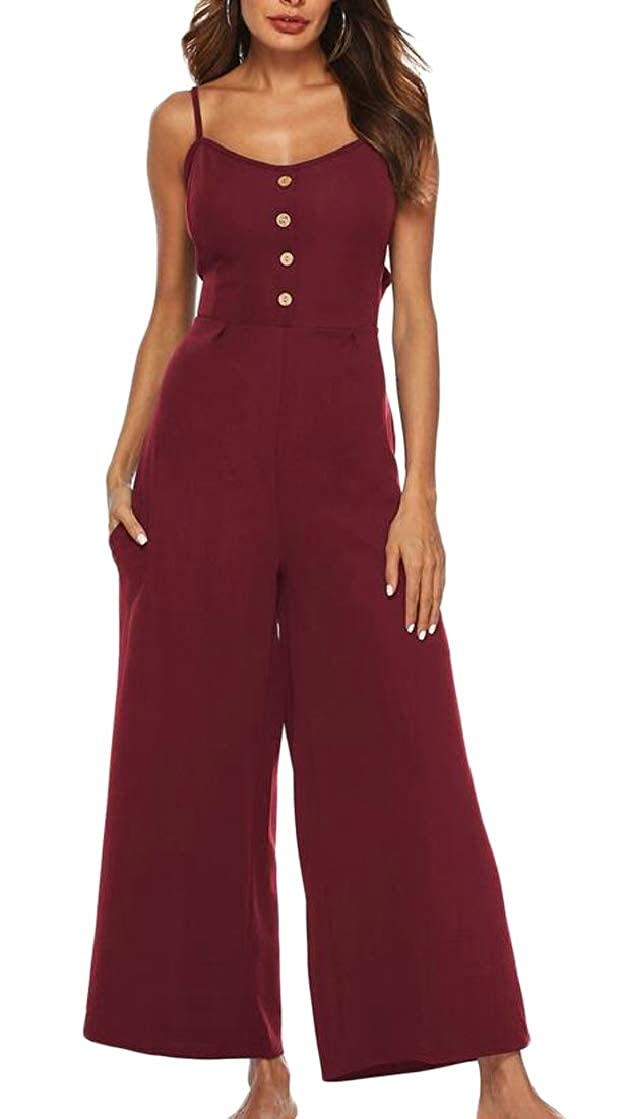 Macondoo Womens Buttons Pocket Spaghetti Strap Backless Bowkont Classic Wide Leg Playsuit Jumpsuits