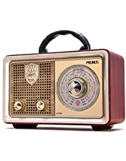 PRUNUS J-110 Retro AM FM Portable Radio, Vintage Bluetooth Speaker with 3-Way Power Sources, Big Frequency Scale, Enhanced Bass, Remote Control, AUX TF Card USB Disk MP3 Player(Silver)