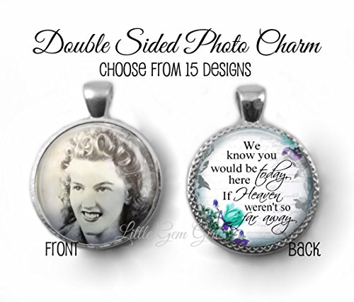 Round Double Sided Custom Photo Wedding Bouquet Charm with Heaven Poem on Back - Personalized Memorial Picture Jewelry as Necklace or Key - Store Memorial Women's