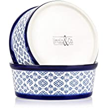 Ceramic Dog Food Bowls: Heavy Food and Water Pet Bowl Dish for Medium and Large Dogs - Blue and White Porcelain Ceramic Drink and Feeding Dishes for Pets - Medium/Large, 8.3 inches x 3.35 inches