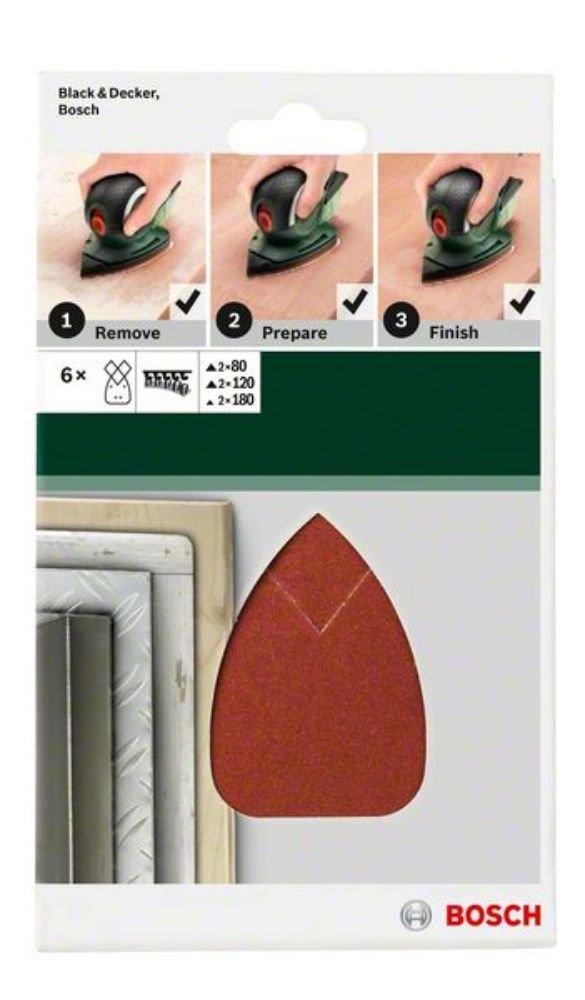 Lot de 5 feuilles Bosch Bosch 2609256A69 Feuilles abrasives pour Ponceuses Multi 90 x 135 Nombre de trous 4 Grain 80