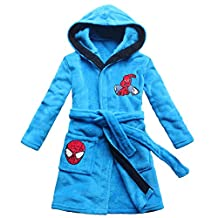 cartoon spider embroidery pattern boy bathrobe sky blue children bathrobe