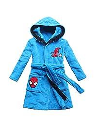 feetoo Cartoon Spider Embroidery Pattern boy Bathrobe Sky Blue Children Bathrobe