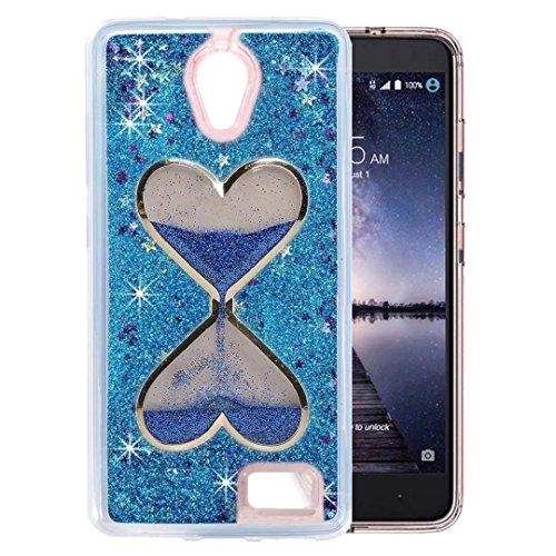 QKKE [Wine Glass Diamond Series] 3D Glitter Bling Hearts Flowing Liquid Star Clear Hard Case for ZTE Prestige N9132/Avid Plus Z828/Maven 2 Z831/Sonata 3 Z832/Chapel/Avid Trio (Hourglass/Blue)