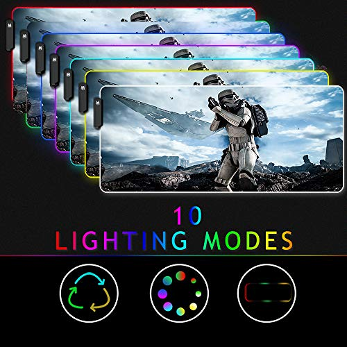 Beyme RGB Gaming Mouse Pad, Large Size (35.4x15.7IN) 10 Light Modes Computer Keyboard Mat & Non-Slip Rubber Base for Gamer, Esports Pros, Office Working (0x40 fgstar Wars)