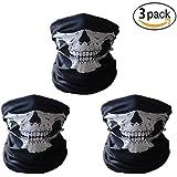 ss shovan SH5005 Skull Mask Bandana Headwear Scary Dust-Proof Windproof Motorcycle Half Face Mask,3 Pack