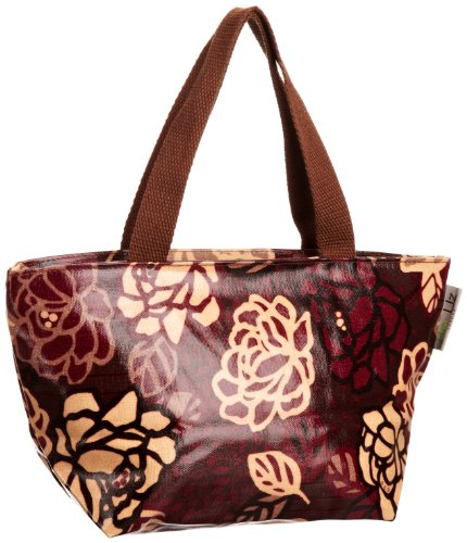 Re-uz Small Oilcloth Tote Brown Roses - Bolso de tela para mujer marrón - Brown/Maroon