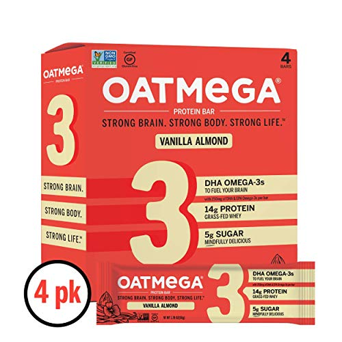Oatmega Protein Bars, Vanilla Almond, Healthy Snacks Made with Omega-3 and Grass-Fed Whey Protein, Gluten Free Protein Bars, 1.8oz (4 Count)