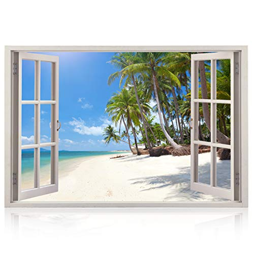 (Realistic Window Wall Decal - Peel and Stick Nautical Decor for Living Room, Bedroom, Office, Playroom - Beach Wall Murals Removable Window Frame Style Ocean Wall Art - Vinyl Poster Wall Stickers)