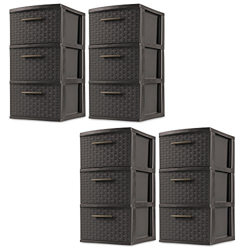 (Sterilite 3 Drawer Wicker Weave Decorative Storage Tower, Espresso (4)