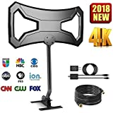 150Miles Upgraded Outdoor HDTV Antenna - Long Range TV Antenna Omni-Directional Pole Mount High Reception 4K FM/VHF/UHF Free Channels Digital Antenna 33ft RG-6 Copper Cable