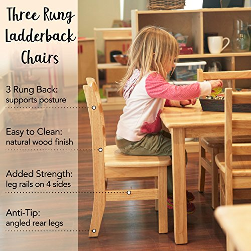 "ECR4Kids 14"" Hardwood 3-Rung Ladderback Chair, Natural (2-Pack)"