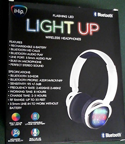 iHip Flashing LED Light Up Wireless Headphones